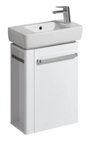 Keramag Hand-rinse basin Vanity unit Renova Nr. 1 Comprimo New, towel rail left, 448x604x222mm White matt/high...