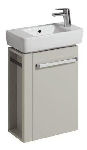 Keramag Hand-rinse basin Vanity unit Renova Nr. 1 Comprimo New, towel rail left, 448x604x222mm, light grey mat...
