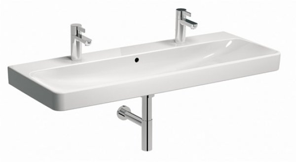 Geberit Smyle Square wash basin 500253, 120x48cm, with two tap holes, with overf...