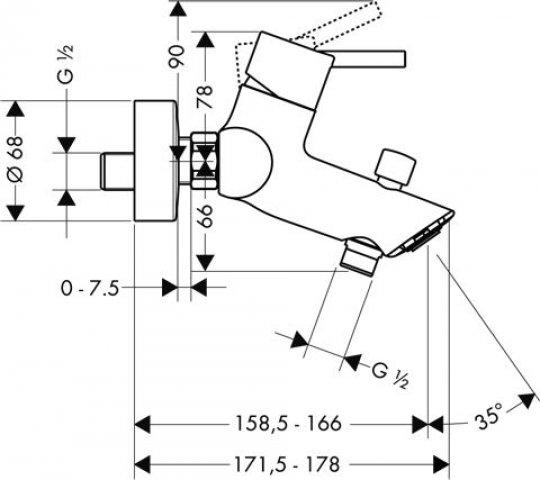 hansgrohe talis einhebel wannenmischer aufputz ausladung 158 5 166mm 32440000. Black Bedroom Furniture Sets. Home Design Ideas