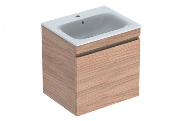 Keramag Renova Nr.1 Plan Furniture-washbasin vanity unit 869563 588x585x473mm, natural dark oak